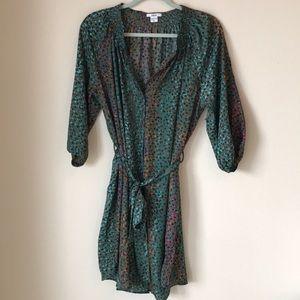 Bar III Green Printed Tie Waist Dress Size XL